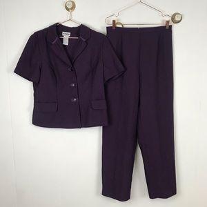 Vintage perceptions Purple Short Sleeve Pants Suit
